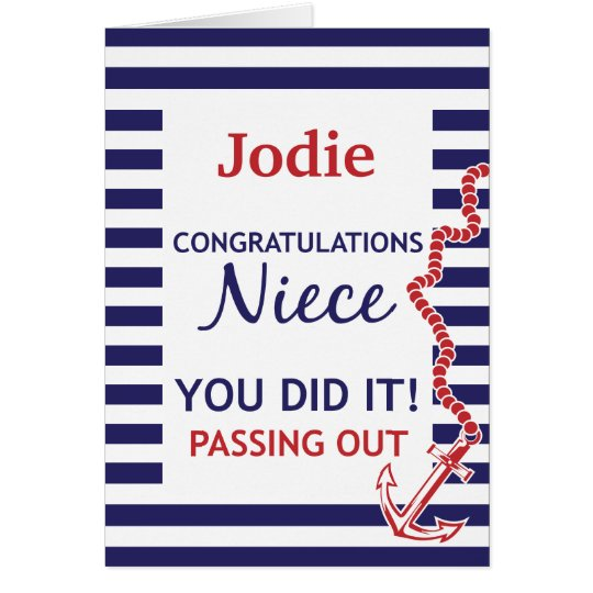 Passing Out Niece British Navy Anchor Congrats Card