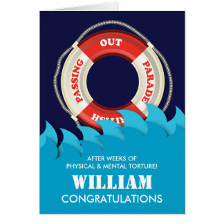 Passing Out Parade British Navy Lifebelt Congrats Greeting Card