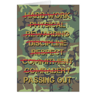 Passing Out Parade Camo Soldier Values Congrats Card