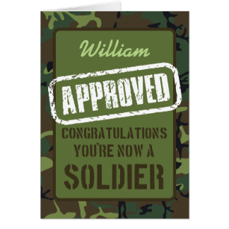 Passing Out Parade Camo Training Soldier Congrats Card