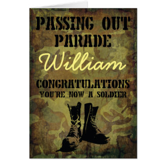 Passing Out Parade Camouflage Boots Congrats Card