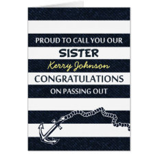 Passing Out Parade Navy Sailor Sister Congrats Card