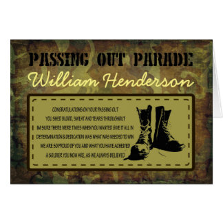 Passing Out Parade Rustic Army Poem Boots Greeting Card