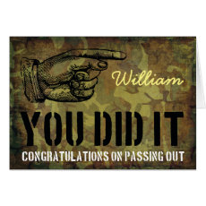 Passing Out Parade Rustic Camo You Did It Congrats Card