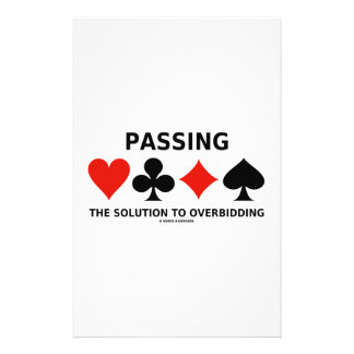 Passing The Solution To Overbidding (Bridge) Personalized Stationery