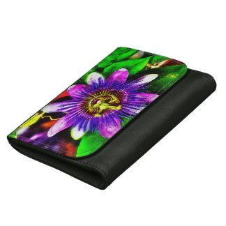 Passion flower Black Medium Leather Wallet