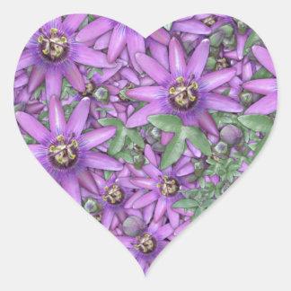Passion Flower Explosion Heart Sticker