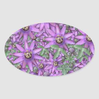 Passion Flower Explosion Oval Sticker