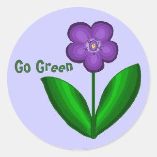 Passion Flower...Go Green Round Sticker