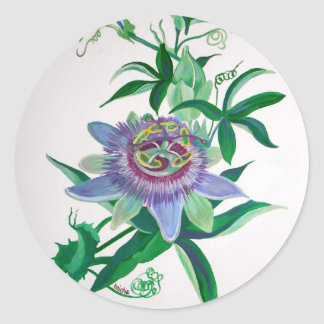 Passion Flower Round Sticker
