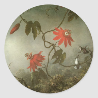 Passion Flowers and Hummingbirds by Martin J Heade Round Sticker