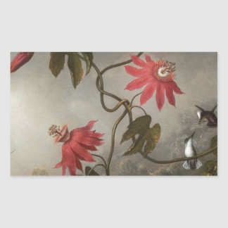 Passion Flowers with Hummingbirds by Martin Johnso Rectangular Sticker