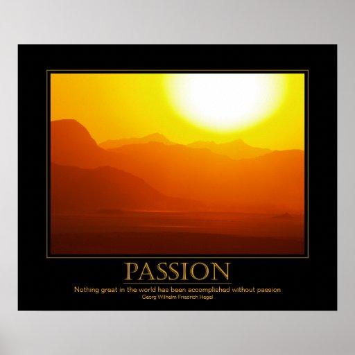 Passion Motivational Desert Sunset Poster