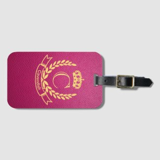 Passion Pink Mock Leather with Monogram Crest
