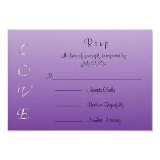Passion Purple and Silver Wedding Love Hearts 9 Cm X 13 Cm Invitation Card