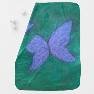 Passionate Baby   Purple Blue Butterfly on Green   Baby Blanket