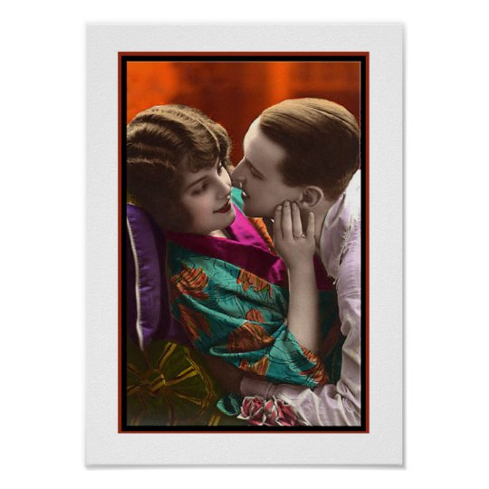 passionate couple in an embrace poster