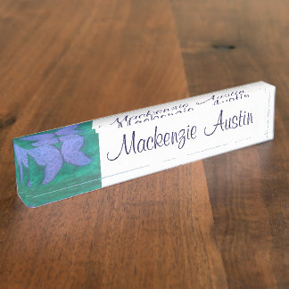 Passionate Desk   Butterfly Wing Purple Blue Green Nameplate