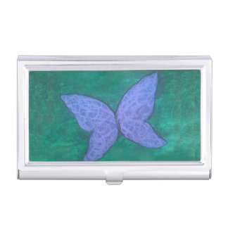 Passionate Desk | Chic Purple Blue Butterfly Green Business Card Holder