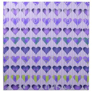 Passionate Purple Hearts Cloth Napkins