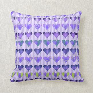 Passionate Purple Hearts Throw Cushion