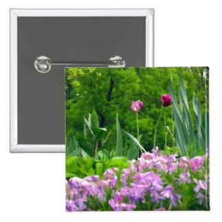 Passionate Purple Tulips Pinback Buttons