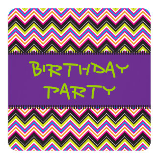 Passionately Lime & Pink Chevrons Personalized Invites
