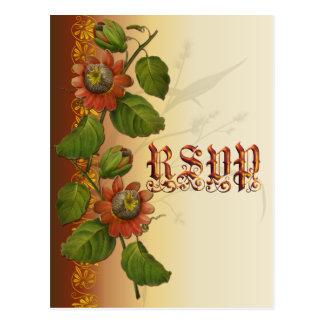 Passionflower Wedding Rust RSVP Postcard