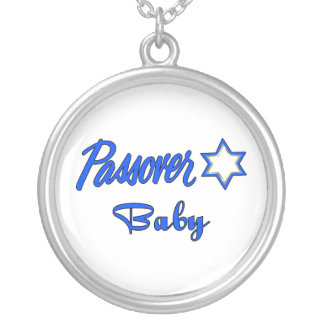 Passover Baby Blue Round Pendant Necklace