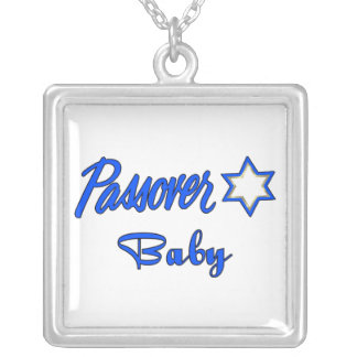 Passover Baby Blue Square Pendant Necklace