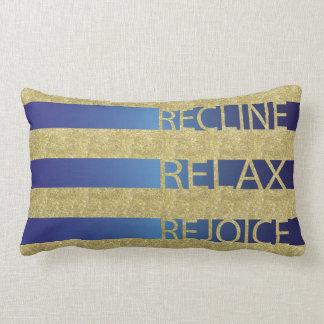 """Passover Gold/Blu Pillow """"Recline, Relax, Rejoice"""""""