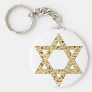Passover Matzoh Star of David Basic Round Button Key Ring