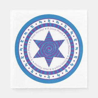 "Passover Standard Napkins ""Purple/Blue Design"" Paper Serviettes"