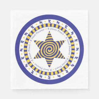 "Passover White Standard Napkins ""Blue/Yellow Star"" Disposable Serviettes"