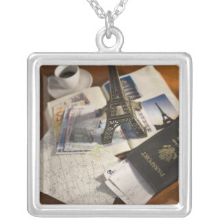Passport and memorabilia silver plated necklace