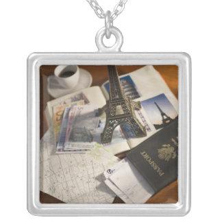 Passport and memorabilia square pendant necklace