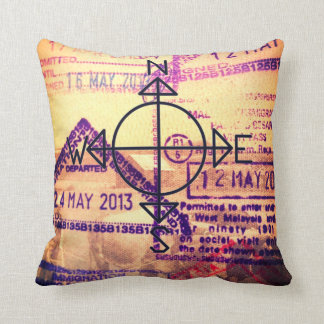 Passport and Travel Throw Pillow