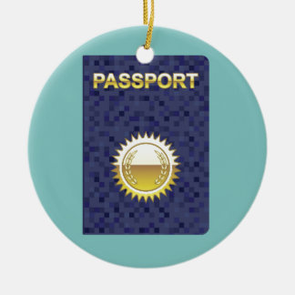 Passport Icon Round Ceramic Decoration