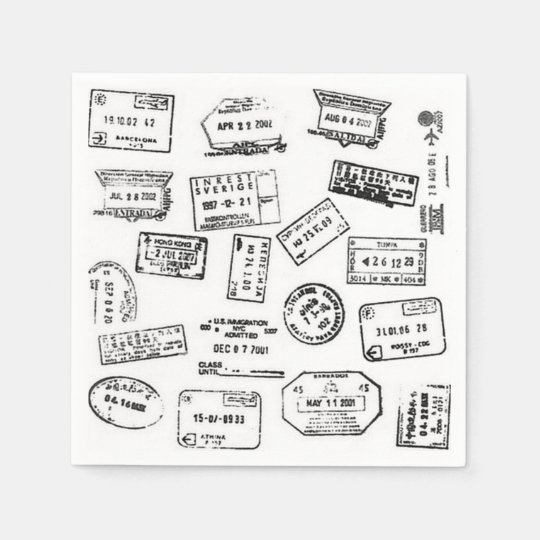 Passport Stamp Napkins Disposable Serviettes