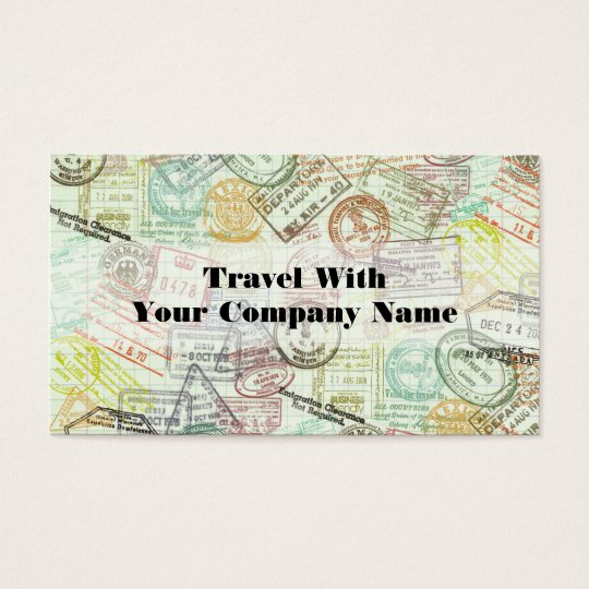 Passport Stamp Travel Print Business Card