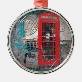 passport stamps London Red Telephone Booth Silver-Colored Round Decoration