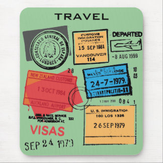 Passport Stamps Mousepad