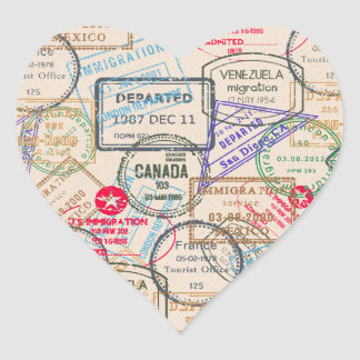 Passport Stamps Travel Heart Sticker
