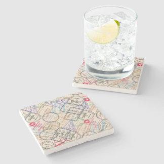 Passport Stamps Travel Stone Beverage Coaster