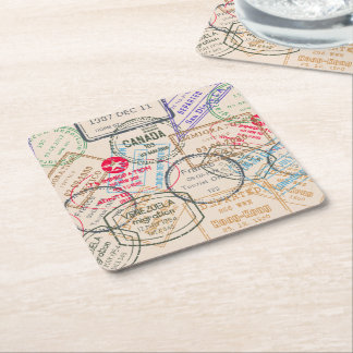 Passport Stamps Travel Square Paper Coaster