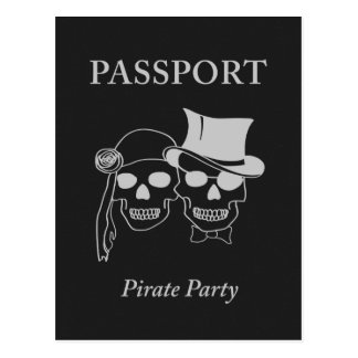 passport to a pirate party postcard