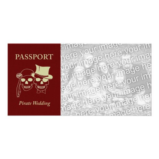passport to a pirate wedding custom photo card