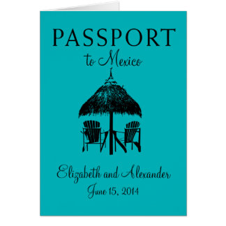Passport to Cancun Mexico Wedding Greeting Cards