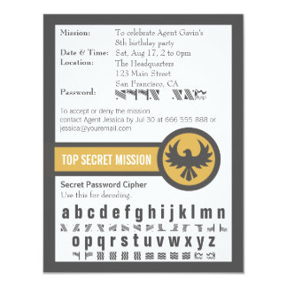 Password Secret Agent Birthday Party Personalized Announcement