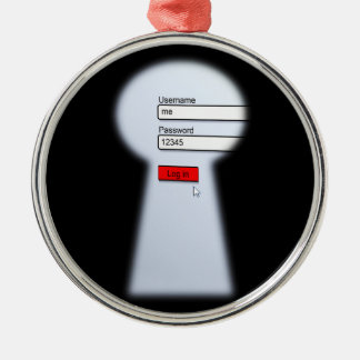 Password Security Silver-Colored Round Decoration